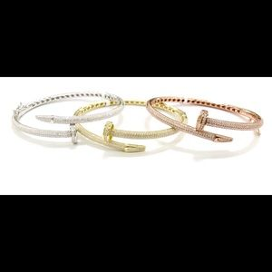 925 Sterling Silver ICED OUT NAIL HEAD BANGLE